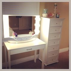 Makeup desk for a small area - desk from Target - drawers from Home Decorators - mirror from Vanity Girl.
