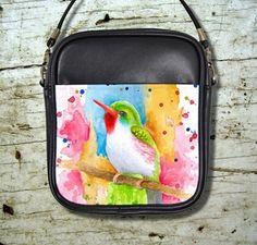 Small Sling Bag Purse Accessory Bird 72 Multicolor Watercolor Art L.Dumas