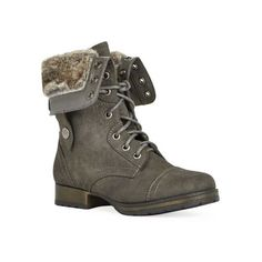 Get ready for that chilly time of year with Rhona.  This combat boot features a lug sole, two-tone construction, and a lace-up design.  Back zip, fur lining.  …
