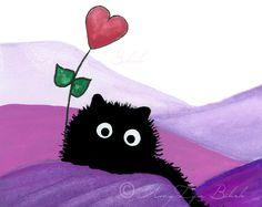 Fuzzy Black Cat Heart Valentine Balloon Art by AmyLynBihrle Black Cat Art, Black Kitty, Kitten Drawing, Valentines Balloons, Cat Flowers, Heart Art, Pictures To Draw, Artist Art, Cute Drawings