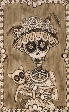 "Day of the Dead Style print of original wood burning, ""Katrina"""