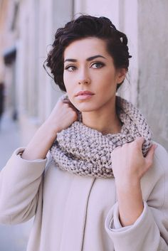 Nude alpaca wool snood | Knitted scarf | Multifunctional scarf | Knitted hat | Loop scarf | Hooded | Designer's scarf | Kotè design by KoteStudio on Etsy