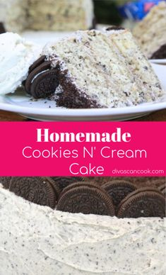 Homemade cookies and cream cake with from-scratch Oreo buttercream frosting! Bolo Cookies And Cream, Cookies N Cream Cake Recipe, Easy Vanilla Cake Recipe, Chocolate Cake Recipe Easy, Chocolate Chip Recipes, Cake Cookies, Oreo Cookie Cake, Cookies And Cream Frosting, Birthday Cakes