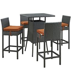 Outdoor Modway Sojourn Wicker 5 Piece Square Patio Pub Set