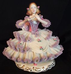 Lrg ​Unique German Dresden Porcelain White Lavender Lace Victorian Lady Figurine