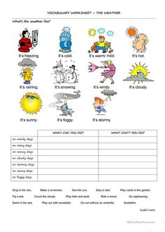 This is a worksheet intended to practise the vocabulary about weather and the use of the modal CAN. The students match words and pictures related to weather and. Social Studies Worksheets, Science Worksheets, Vocabulary Worksheets, Seasons Worksheets, Weather Worksheets, English Worksheets For Kids, English Activities, English Lessons, Learn English