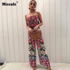 e6fa9f116812 Strap Floral Printed Jumpsuit Casual Beach Party Full Length Long Overalls  Summer Off Shoulder Rompers