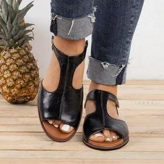 Plain Flat Peep Toe Casual Flat Sandals new styles every day from dresses, onesies, heels, & coats, shop womens clothing now. Leather Fashion, Fashion Shoes, Cheap Fashion, Latest Fashion, Fashion Dresses, Fashion Trends, Baskets, Peep Toe Flats, Flat Sandals