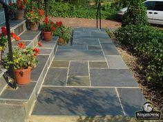 Symmetrical Flagstone Stoop, Landing & Steps......pretty with geraniums