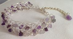 Silver plated wire & amethyst chips