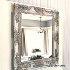 Shabby Chic Wall Mirror White and Gold