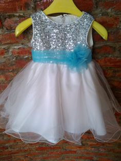Silver sequins white skirt organza flower girls dress with turquoise sash flower on Etsy, $69.00