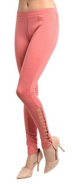 Cute Coral Leggings - love the ankle details!
