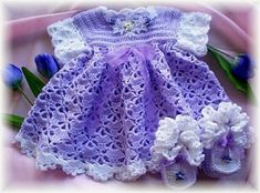 Crochet Pattern for Baby Dress ---- Tulip Time Baby Dress with  Booties