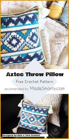 Aztec Throw Pillow - Free Pattern #crochet #throwpillow #homedecorideas #freecrochetpattern #diy