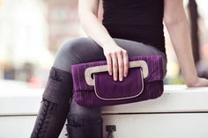 vegan purse  purple clutch purse  organic cotton by CanopyVerde