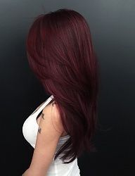 Love this deep burgundy coloring. Purple Burgundy Hair Color, Red Ombre, Color Red, Long Burgundy Hair, Deep Red Hair Color, Burgundy Nails, Black Cherry Hair Color, Red Balayage Hair Burgundy, Chocolate Cherry Hair Color
