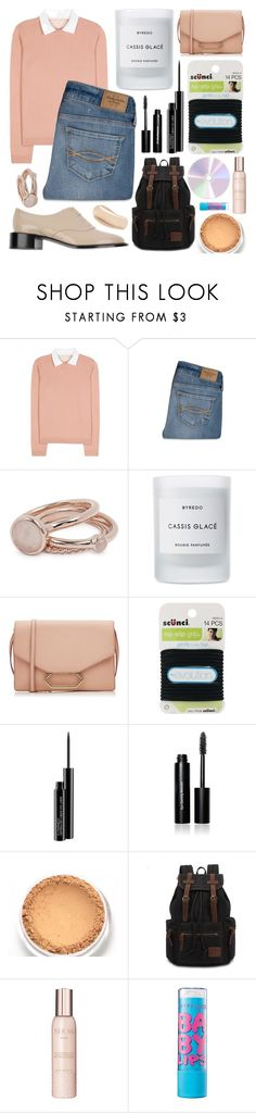 """Peachy school day"" by annalaris on Polyvore featuring RED Valentino, Abercrombie & Fitch, Lola Rose, Byredo, Victoria Beckham, scunci, MAC Cosmetics, Bobbi Brown Cosmetics, Show Beauty and Maybelline"
