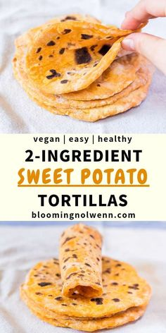 Sweet Potato Tortillas made with only 2 ingredient! These vegan tortillas Vegan Sweet Potato Tortillas made with only 2 ingredient! These vegan tortillas . -Vegan Sweet Potato Tortillas made with only 2 ingredient! These vegan tortillas . Gourmet Recipes, Whole Food Recipes, Vegetarian Recipes, Cooking Recipes, Healthy Recipes, Healthy Meals, Vegan Vegetarian, Healthy Food, Tacos Vegan