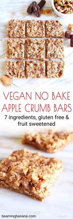 Vegan no bake apple crumb bars have a soft and sweet crust and a crunchy crumble topping. They're gluten free and fruit sweetened, and made with just 7 healthy ingredients, no oven required! #veganapplecrumbbars #veganapplerecipe #applerecipe #nobakerecipe #healthyapplecrumbbars #glutenfreedessert #healthydessert #vegandessert #fallrecipes