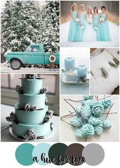 Turquoise, Aqua and Forest Green Rustic Winter Wedding Colour Scheme - Christmas Wedding - Icy Blue - Snowy Wedding - A Hue For Two | www.ahuefortwo.com