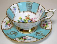 Royal Stafford Tea Cup & Saucer c1940s Mixed Floral Bouquets Turquoise Panelled