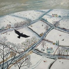 Jasper saved to iconPrint of English countryside in winter with flying crow from an original acrylic painting 'As the Crow Flies' by Jo Grundy - Landscape Art, Landscape Paintings, Hunters In The Snow, Illustration Art, Illustrations, Winter Art, Winter Painting, Painting Art, The Raven