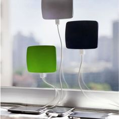 CLING BLING Window Solar Charger for Smart Phones and more.. The surface plate of  the charger creates a suction to cling to the Glass and gets solar  powered. It's size is almost 6 inches square and has an internal  polymer battery that stores up to 1800 mAh power. It has a lightindicator that indicates battery is getting charged and when it is fully charged.  It Can use any phone that has USB  charger plug, an iPhone orsimilarphone will charge in 2 hours ...