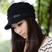 "Wish | Women""s Korean Style Pleated Peaked Cap Hat Sunhat 3 Colors AP"