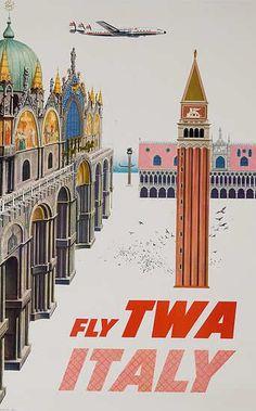 TWA Italy travel poster