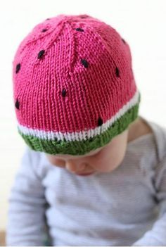 Watermelon Baby Hat Pattern | This baby hat knitting pattern is too, too adorable.