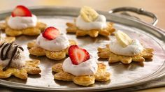 Flaky pastry and sweet creamy toppings make these little bites irresistible! Mini banana split pastries
