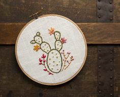 Cactus Embroidery - 6 Inch Hoop Art - Hand Embroidered - Southwestern Art - Cacti - Green Botanical Spring Wall Hanging