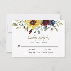 Sunflower Burgundy Roses Navy Blue Rustic Wedding RSVP Card - tap/click to personalize and buy #RSVPCard  #sunflower #wedding #rsvp #cards #elegant Watercolor Sunflower, Floral Watercolor, Watercolor Wedding, Wedding Rsvp, Wedding Rustic, Wedding Invitations, Rustic Weddings, Autumn Wedding, Trendy Wedding