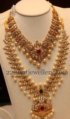 Jewellery Designs: Peacock Polki Long Set and Choker