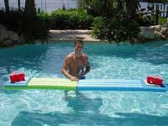 Another creative variation to the floating beer pong table Floating Beer Pong Table, Beer Pong Tables, Twin Birthday, Birthday Fun, Employee Performance Review, Party Hacks, Party Ideas, Homemade Beer, How To Make Beer