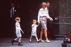 Left to Right: HRH PRINCE WILLIAM; HRH PRINCE HARRY and HRH PRINCESS OF WALES, leaving the Portland Hospital in London after visiting Princess Beatrice, first child of the Duke and Duchess of York, August 10, 1988.