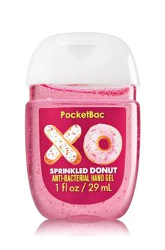 XO Sprinkled Donut - PocketBac Sanitizing Hand Gel - Bath & Body Works - Now with more happy! Our NEW PocketBac is perfectly shaped for pockets & purses, making it easy to kill 99.9% of germs when you're on-the-go! New, skin-softening formula conditions with Aloe & Vitamin E to leave your hands feeling soft and clean.
