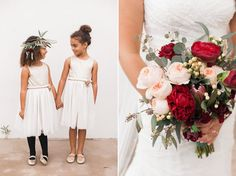 A pair of adorable flower girls in ballet flats / A closeup on those pale pink and scarlet peonies in the bouquet | Wedgewood Menifee Lakes | Photographer: Sara Lucero