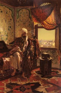 "Orientalist Painting with Chelaberd or ""eagle"" Kazak on the floor"