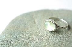 Prehnite Hammered Silver Ring, Organic Ring, Echo Friendly on Etsy, £48.30