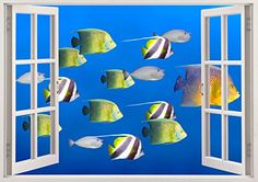 "Colorful Fish Ocean 3D Removable Vinyl Wall Sticker Mural Decal Home Window View Large 33.5"" x 47"" Bomba-Deal http://www.amazon.com/dp/B00O90673G/ref=cm_sw_r_pi_dp_10hnub077VPSX"