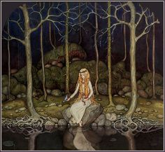 """The Princess in the Forest"" by John Bauer (1882 – 1918), Swedish painter and illustrator John Bauer, Princess Illustration, Forest Illustration, Children's Book Illustration, Fairy Tale Illustrations, Fairytale Hair, Princess Aesthetic, Gold Hair, Fairies"