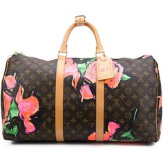 Louis Vuitton Vintage Stephen Sprouse x Louis Vuitton 'Roses Keepall... ($5,295) ❤ liked on Polyvore featuring bags, luggage and brown