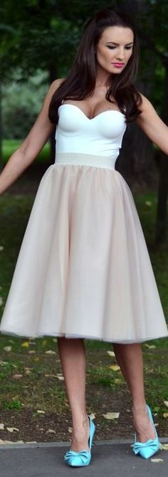 Fairytale Collection Shop Taupe A-line Tulle High Waisted Midi Skirt by My Silk Fairytale