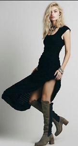 FREE PEOPLE FP X Ruffle Rows Maxi Dress Gown Black W/ Open Back Med Retail $168.  | eBay