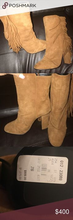 """🚨🚨FLASH SALE Giuseppe Zanotti boots Brown suede Giuseppe Zanotti Alabama 105 round-toe ankle boots with fringe accents at sides, gathered accents at uppers and covered heels.  Heels: 4.25"""" Giuseppe Zanotti Shoes Ankle Boots & Booties"""