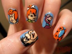 The Flintstones still are my favorite modern stone age family and these Flintstones nails are especially cute.