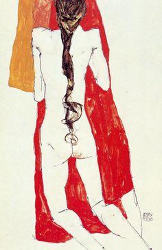 Una donna nuda con una lunga treccia nera di Egon Schiele