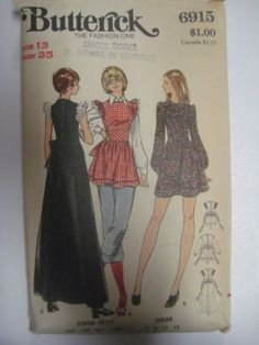 Vintage-70s-Butterick-DRESS-or-SMOCK-w-PUFFED-CAP-SLEEVES-Sewing-Pattern-Women size 7 bust 31